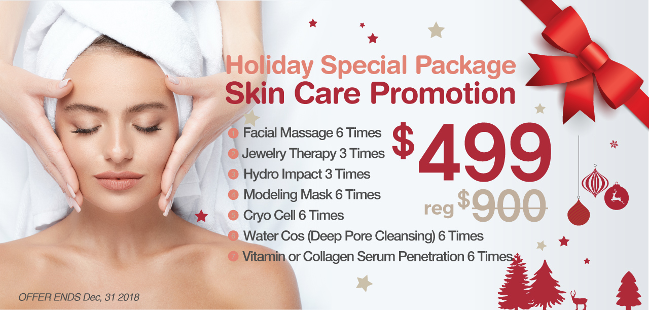 Holiday Special Package, Skin Care Promotion $499 (reg$900). Offer good through 12/31/2018